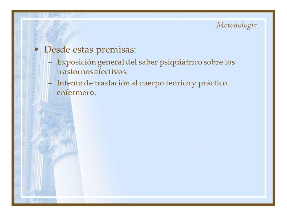 Desde estas premisas: –Exposición general del saber psiquiátrico sobre los trastornos afectivos. –Intento de traslación al cuerpo teórico y práctico e