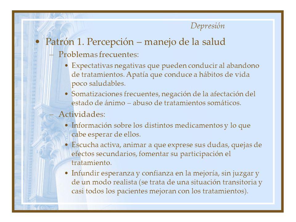 Patrón 1. Percepción – manejo de la salud –Problemas frecuentes: Expectativas negativas que pueden conducir al abandono de tratamientos. Apatía que co