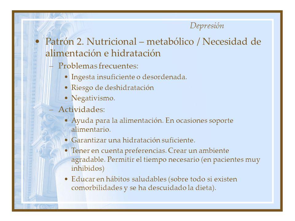 Patrón 2. Nutricional – metabólico / Necesidad de alimentación e hidratación –Problemas frecuentes: Ingesta insuficiente o desordenada. Riesgo de desh