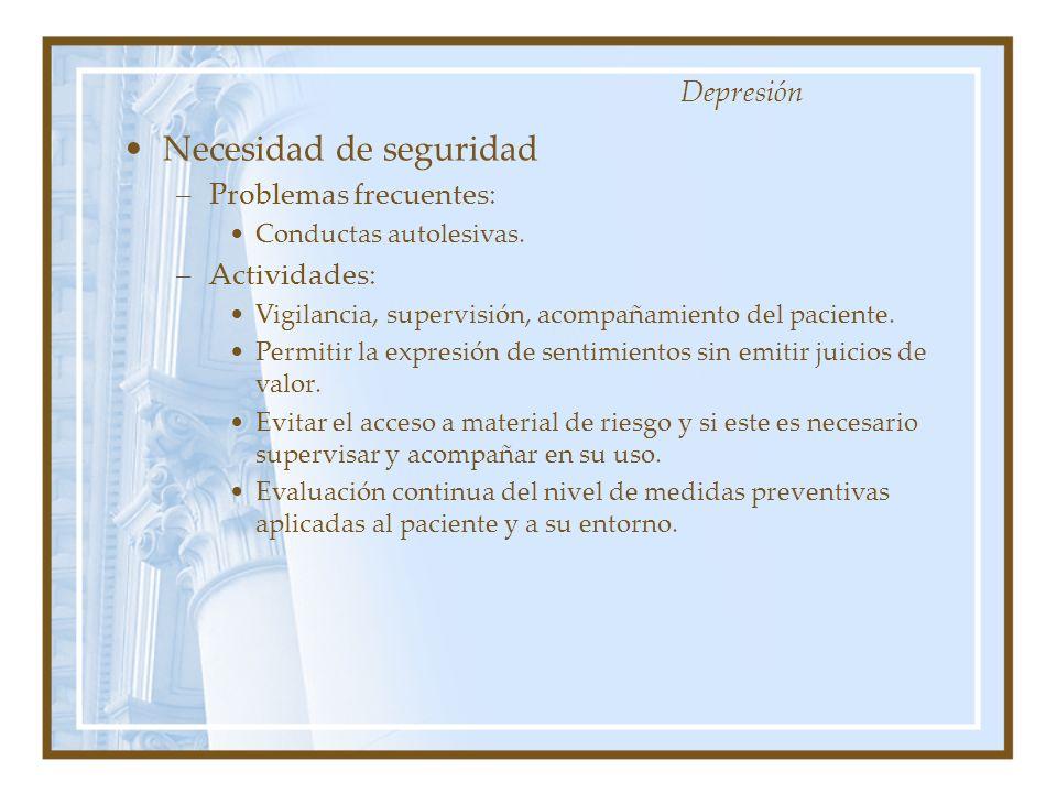 Necesidad de seguridad –Problemas frecuentes: Conductas autolesivas. –Actividades: Vigilancia, supervisión, acompañamiento del paciente. Permitir la e