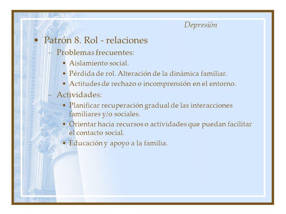 Patrón 8. Rol - relaciones –Problemas frecuentes: Aislamiento social. Pérdida de rol. Alteración de la dinámica familiar. Actitudes de rechazo o incom