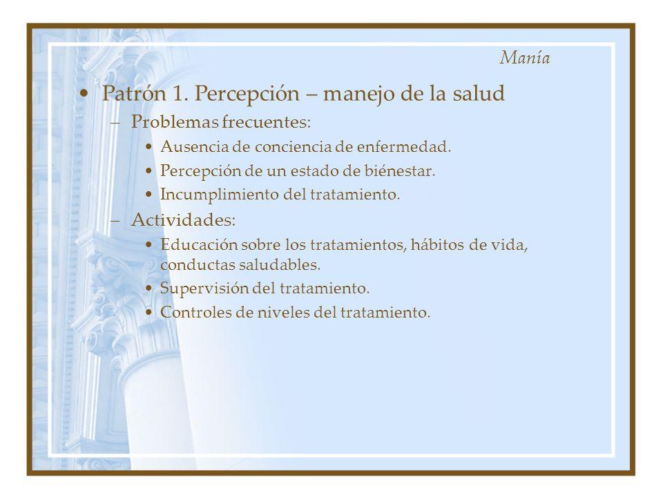 Patrón 1. Percepción – manejo de la salud –Problemas frecuentes: Ausencia de conciencia de enfermedad. Percepción de un estado de biénestar. Incumplim