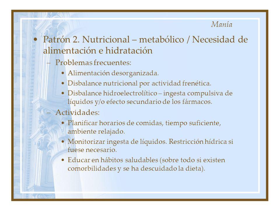 Patrón 2. Nutricional – metabólico / Necesidad de alimentación e hidratación –Problemas frecuentes: Alimentación desorganizada. Disbalance nutricional