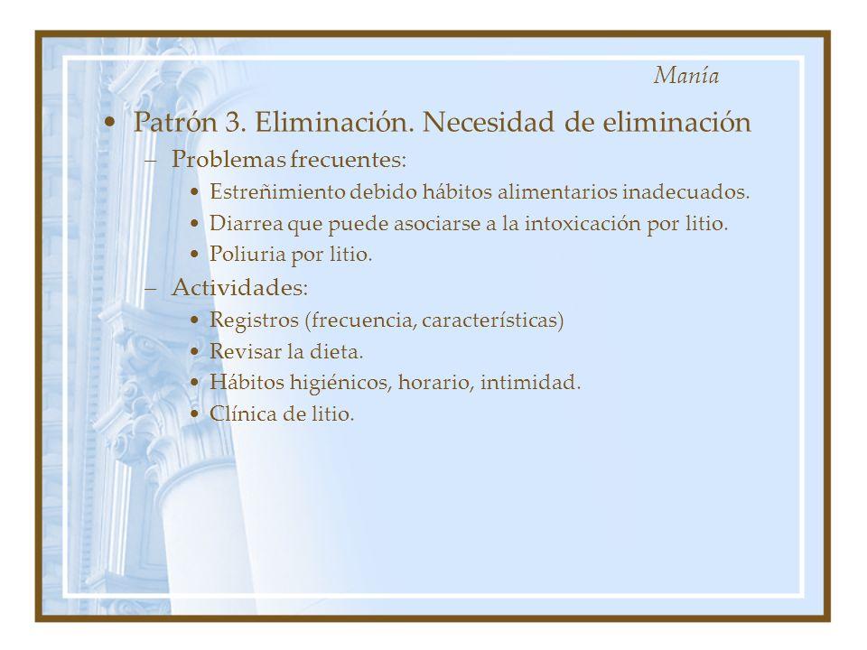 Patrón 3. Eliminación. Necesidad de eliminación –Problemas frecuentes: Estreñimiento debido hábitos alimentarios inadecuados. Diarrea que puede asocia