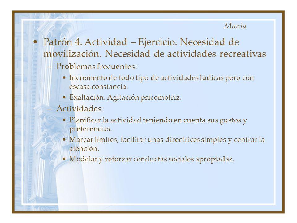 Patrón 4. Actividad – Ejercicio. Necesidad de movilización. Necesidad de actividades recreativas –Problemas frecuentes: Incremento de todo tipo de act