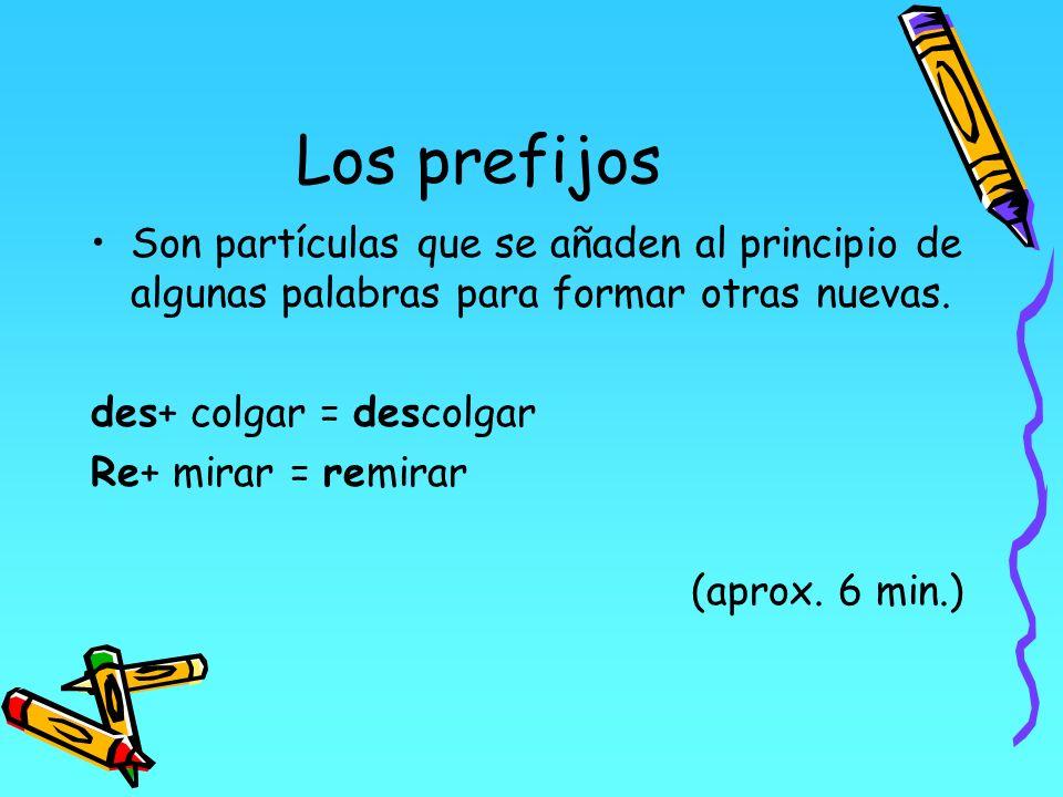 Los prefijos Son partículas que se añaden al principio de algunas palabras para formar otras nuevas. des+ colgar = descolgar Re+ mirar = remirar (apro