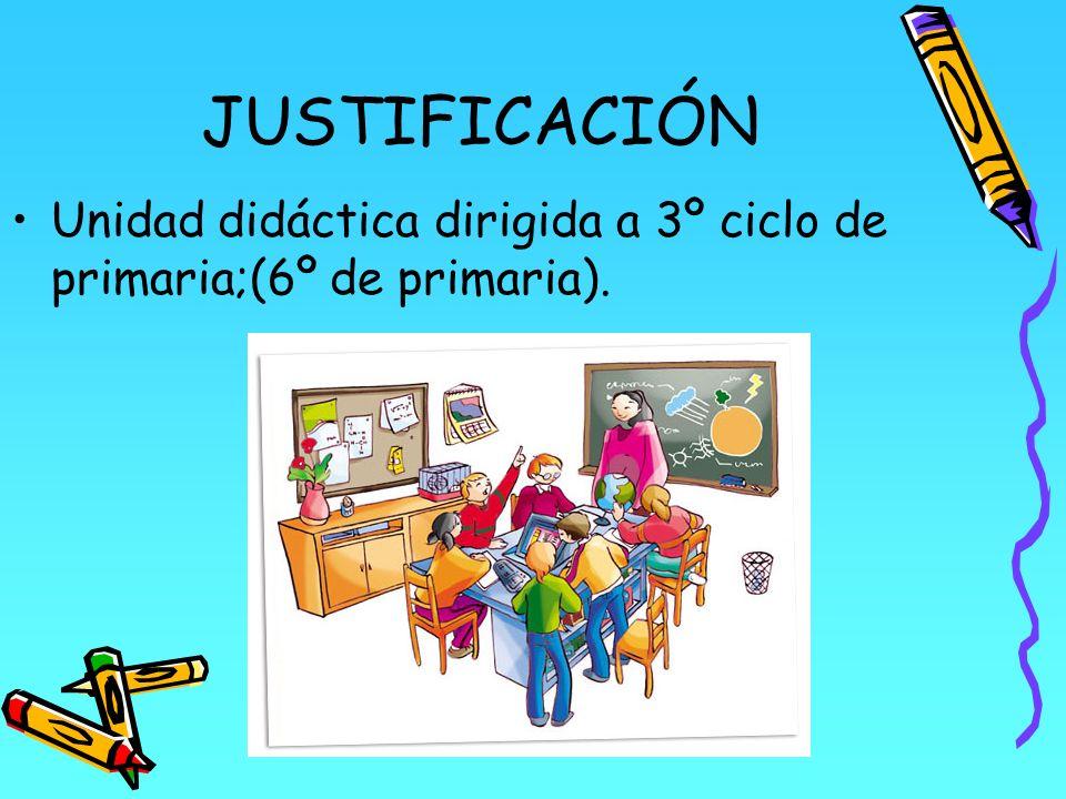 JUSTIFICACIÓN Unidad didáctica dirigida a 3º ciclo de primaria;(6º de primaria).
