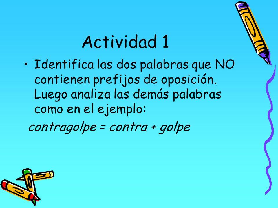 Actividad 1 Identifica las dos palabras que NO contienen prefijos de oposición. Luego analiza las demás palabras como en el ejemplo: contragolpe = con