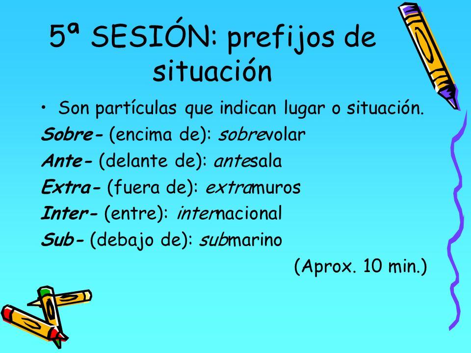 5ª SESIÓN: prefijos de situación Son partículas que indican lugar o situación. Sobre- (encima de): sobrevolar Ante- (delante de): antesala Extra- (fue