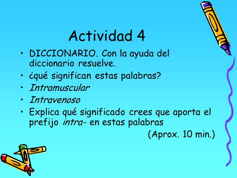 Actividad 4 DICCIONARIO. Con la ayuda del diccionario resuelve. ¿qué significan estas palabras? Intramuscular Intravenoso Explica qué significado cree