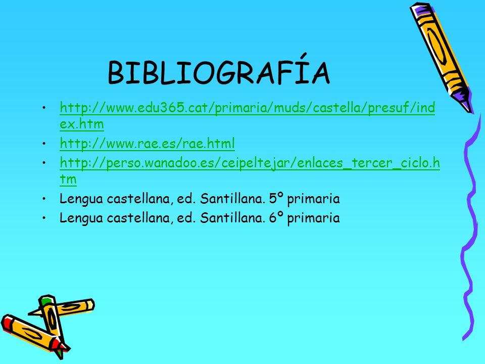 BIBLIOGRAFÍA http://www.edu365.cat/primaria/muds/castella/presuf/ind ex.htmhttp://www.edu365.cat/primaria/muds/castella/presuf/ind ex.htm http://www.r