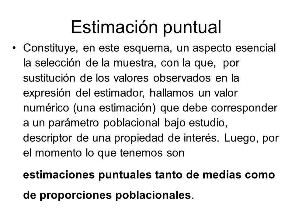 Estimación puntual Constituye, en este esquema, un aspecto esencial la selección de la muestra, con la que, por sustitución de los valores observados
