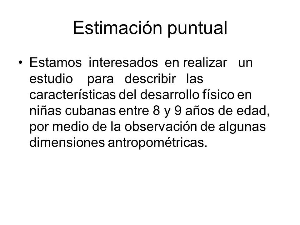 Estimación puntual Estamos interesados en realizar un estudio para describir las características del desarrollo físico en niñas cubanas entre 8 y 9 añ