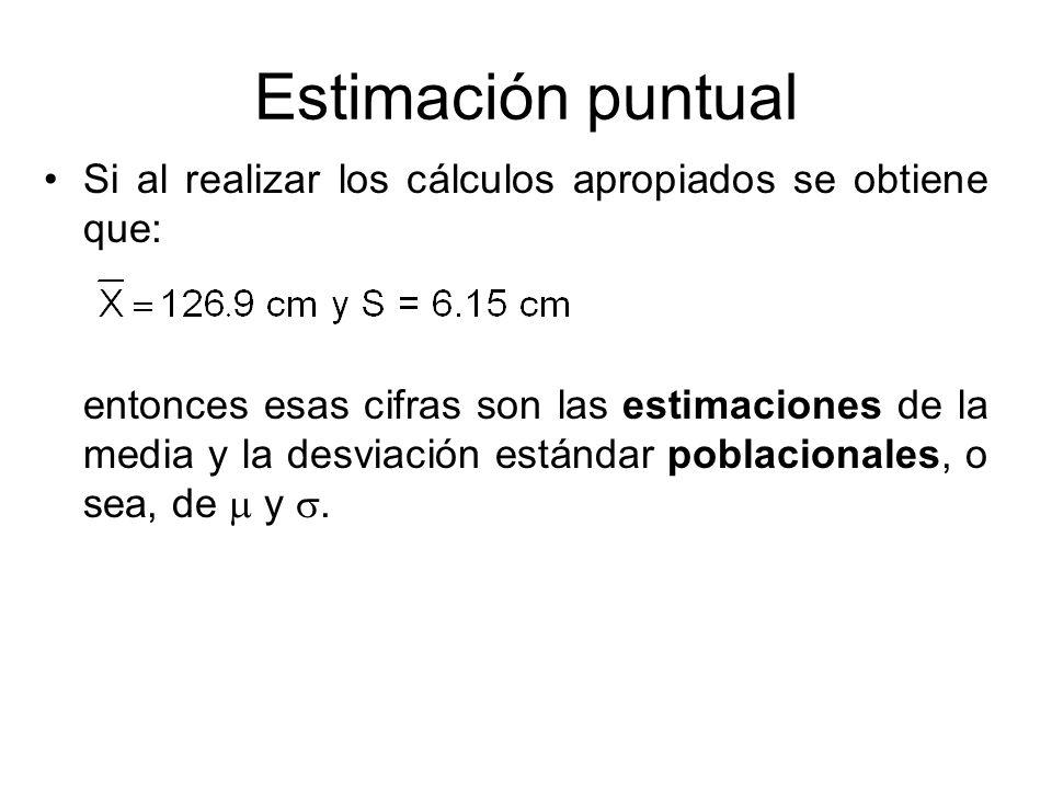 Estimación puntual Si al realizar los cálculos apropiados se obtiene que: entonces esas cifras son las estimaciones de la media y la desviación estánd