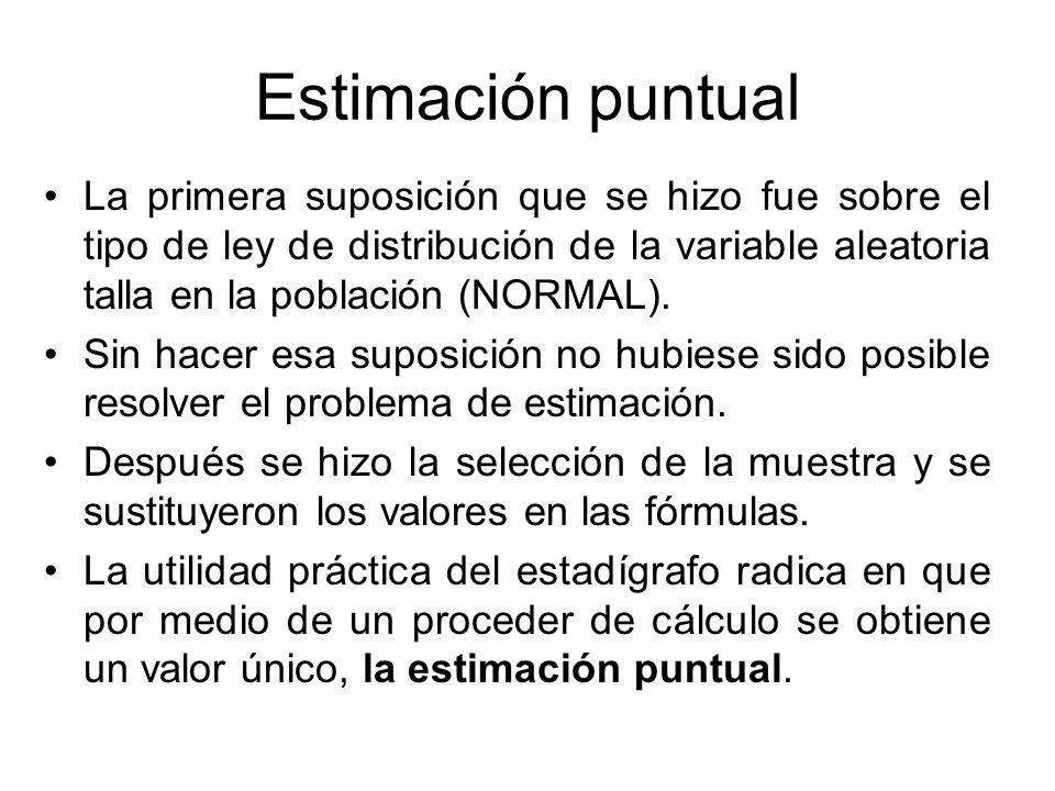 Estimación puntual La primera suposición que se hizo fue sobre el tipo de ley de distribución de la variable aleatoria talla en la población (NORMAL).