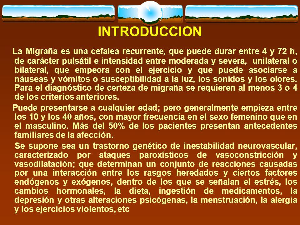 TABLA 1. TIEMPO DE EVOLUCIÓN DE LA MIGRAÑA