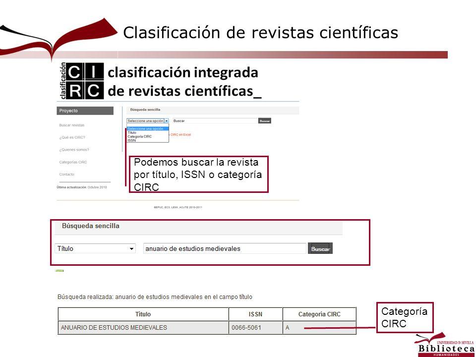 Podemos buscar la revista por título, ISSN o categoría CIRC Categoría CIRC Clasificación de revistas científicas