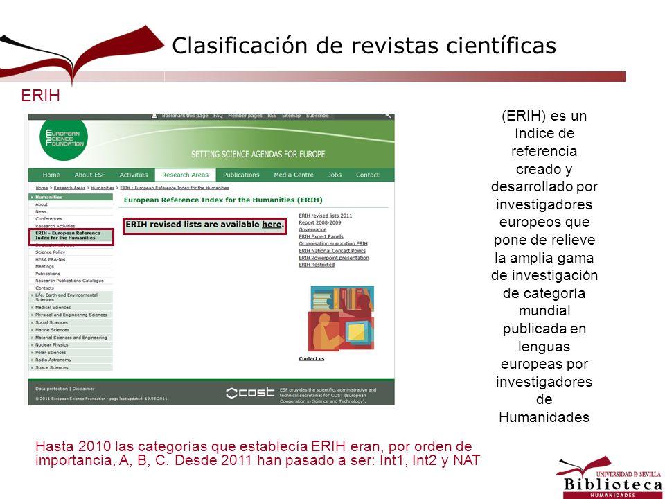 (ERIH) es un índice de referencia creado y desarrollado por investigadores europeos que pone de relieve la amplia gama de investigación de categoría m