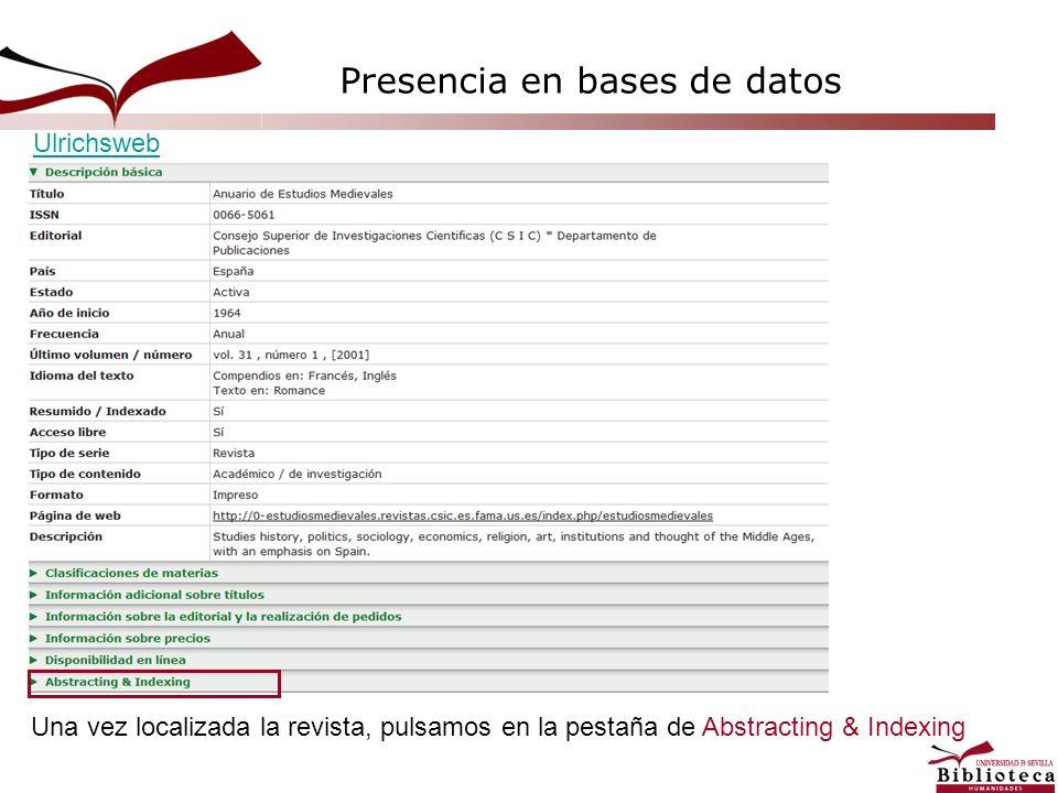 Una vez localizada la revista, pulsamos en la pestaña de Abstracting & Indexing Ulrichsweb Presencia en bases de datos