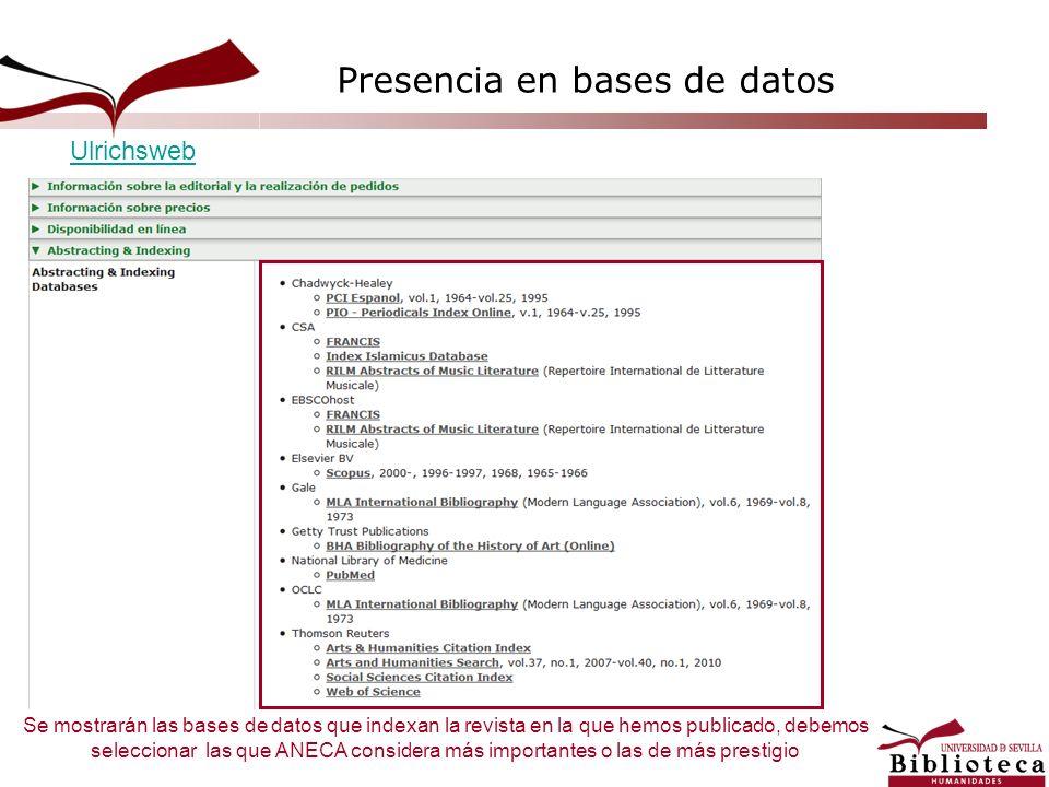 Se mostrarán las bases de datos que indexan la revista en la que hemos publicado, debemos seleccionar las que ANECA considera más importantes o las de