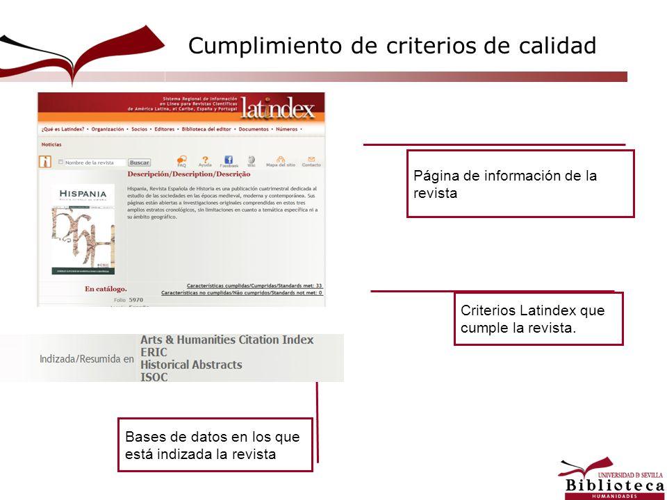 Página de información de la revista Bases de datos en los que está indizada la revista Criterios Latindex que cumple la revista. Cumplimiento de crite
