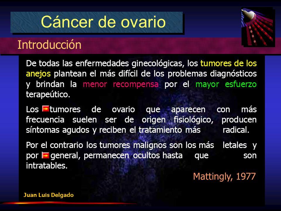 Introducción Cáncer de ovario Juan Luis Delgado De todas las enfermedades ginecológicas, los tumores de los anejos plantean el más difícil de los problemas diagnósticos y brindan la menor recompensa por el mayor esfuerzo terapeútico.