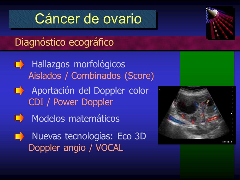 Diagnóstico ecográfico Cáncer de ovario Hallazgos morfológicos Aislados / Combinados (Score) Aportación del Doppler color CDI / Power Doppler Modelos matemáticos Nuevas tecnologías: Eco 3D Doppler angio / VOCAL