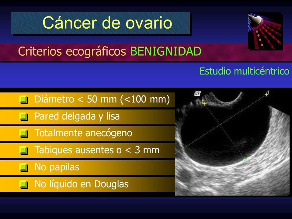 Criterios ecográficos BENIGNIDAD Cáncer de ovario Estudio multicéntrico Diámetro < 50 mm (<100 mm) Pared delgada y lisa Totalmente anecógeno Tabiques ausentes o < 3 mm No papilas No líquido en Douglas