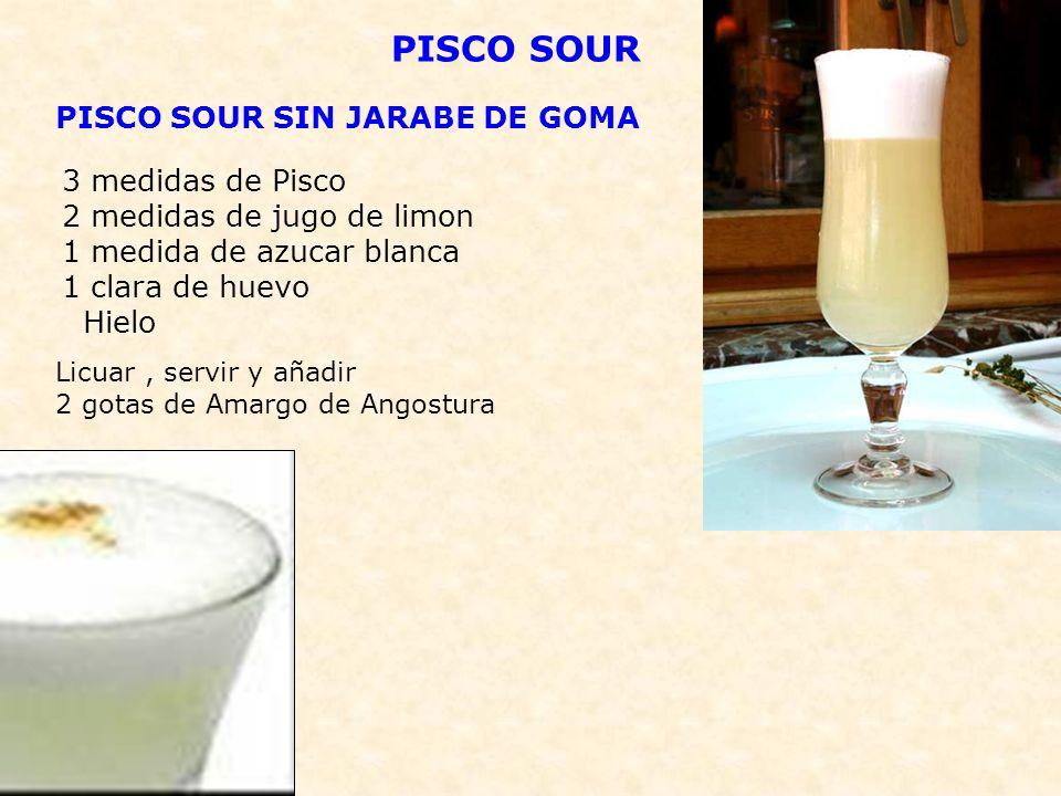PISKIRI DE DURAZNO - 1 onza de pisco - 1 cucharadita de azúcar - 2 onzas de jugo de durazno - Hielo picado PREPARACIÓN: Licuar con abundante hielo y servir en copa tulipán.