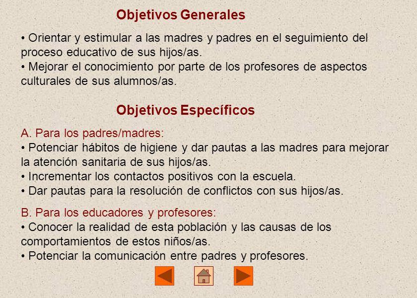 Objetivos Generales Orientar y estimular a las madres y padres en el seguimiento del proceso educativo de sus hijos/as.