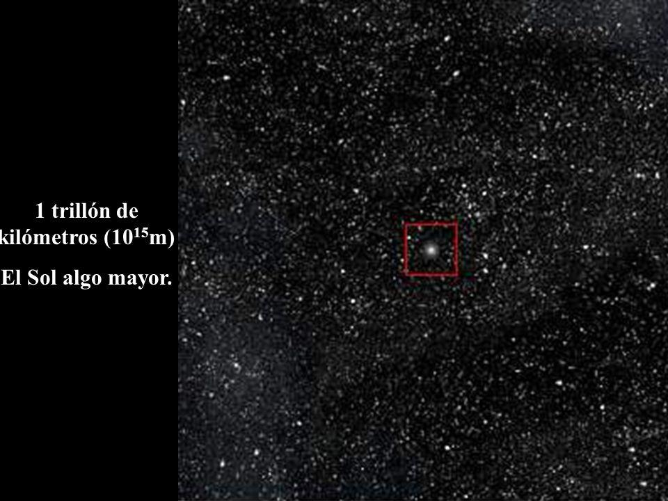 1 trillón de kilómetros (10 15 m) El Sol algo mayor.