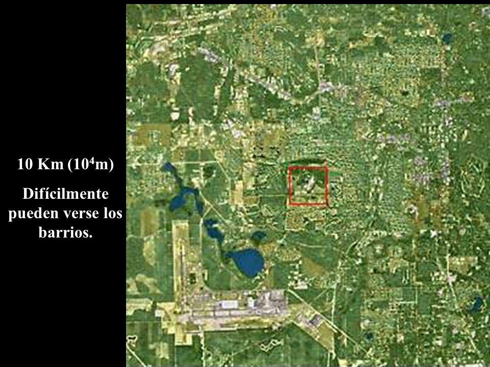 10 Km (10 4 m) Difícilmente pueden verse los barrios.