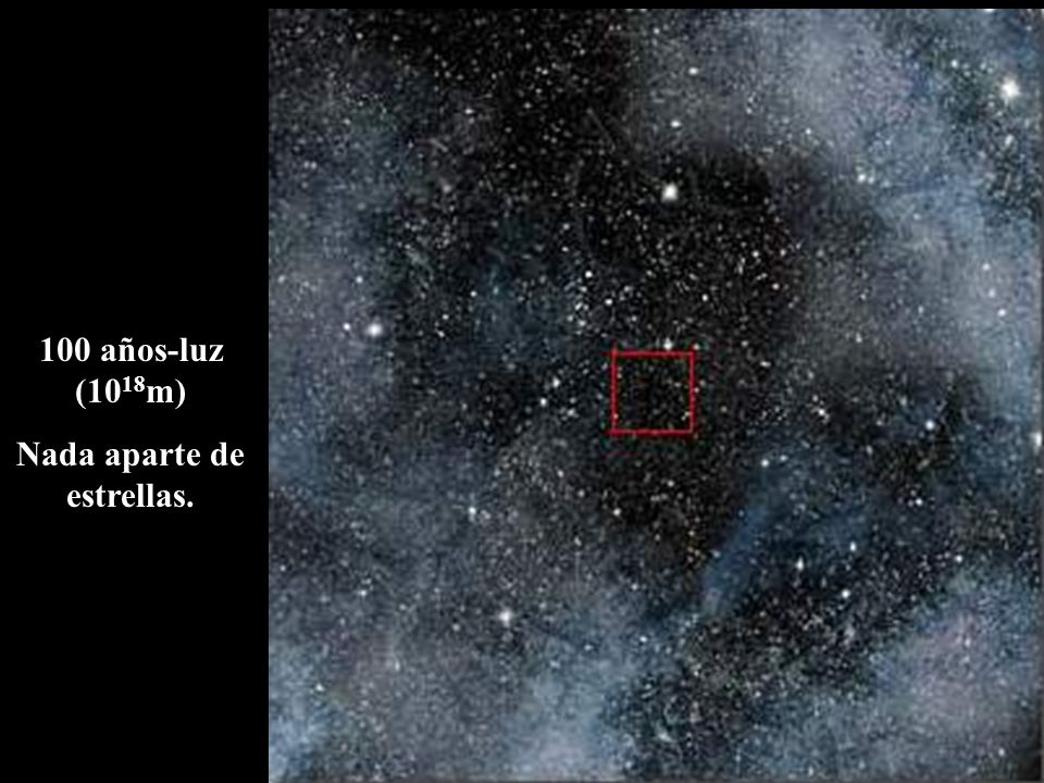 100 años-luz (10 18 m) Nada aparte de estrellas.