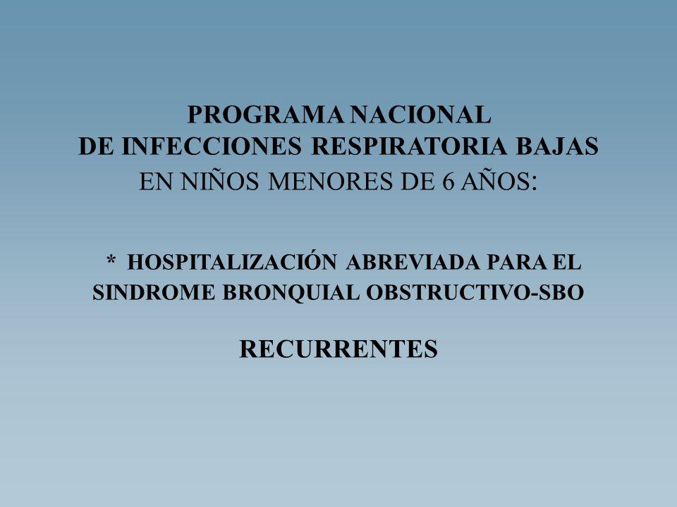 PROGRAMA NACIONAL DE INFECCIONES RESPIRATORIA BAJAS EN NIÑOS MENORES DE 6 AÑOS : * HOSPITALIZACIÓN ABREVIADA PARA EL SINDROME BRONQUIAL OBSTRUCTIVO-SB