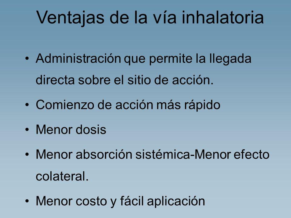 Ventajas de la vía inhalatoria Administración que permite la llegada directa sobre el sitio de acción. Comienzo de acción más rápido Menor dosis Menor