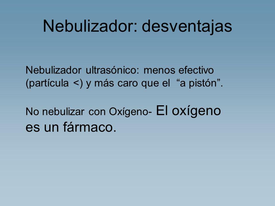 Nebulizador: desventajas Nebulizador ultrasónico: menos efectivo (partícula <) y más caro que el a pistón. No nebulizar con Oxígeno- El oxígeno es un