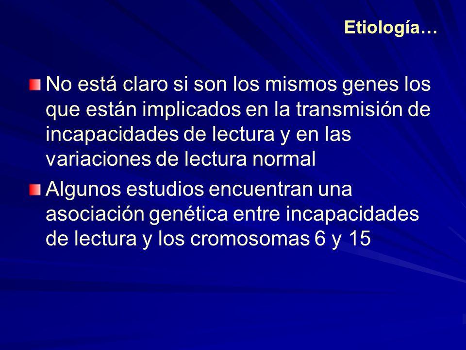 No está claro si son los mismos genes los que están implicados en la transmisión de incapacidades de lectura y en las variaciones de lectura normal Al