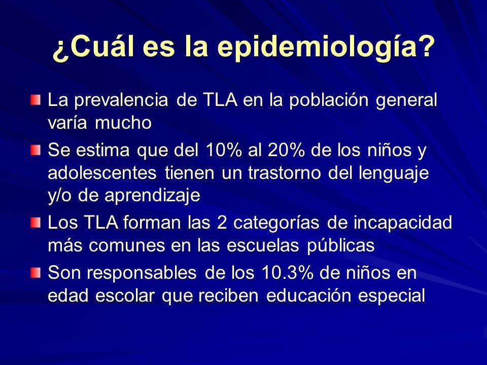 ¿Cuál es la epidemiología? La prevalencia de TLA en la población general varía mucho Se estima que del 10% al 20% de los niños y adolescentes tienen u