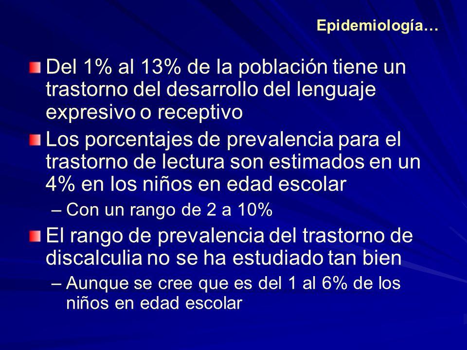 Epidemiología… Del 1% al 13% de la población tiene un trastorno del desarrollo del lenguaje expresivo o receptivo Los porcentajes de prevalencia para