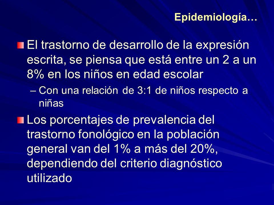 Epidemiología… El trastorno de desarrollo de la expresión escrita, se piensa que está entre un 2 a un 8% en los niños en edad escolar –Con una relació