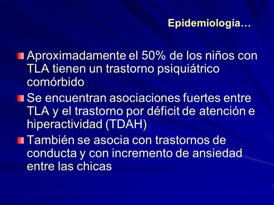 Aproximadamente el 50% de los niños con TLA tienen un trastorno psiquiátrico comórbido Se encuentran asociaciones fuertes entre TLA y el trastorno por