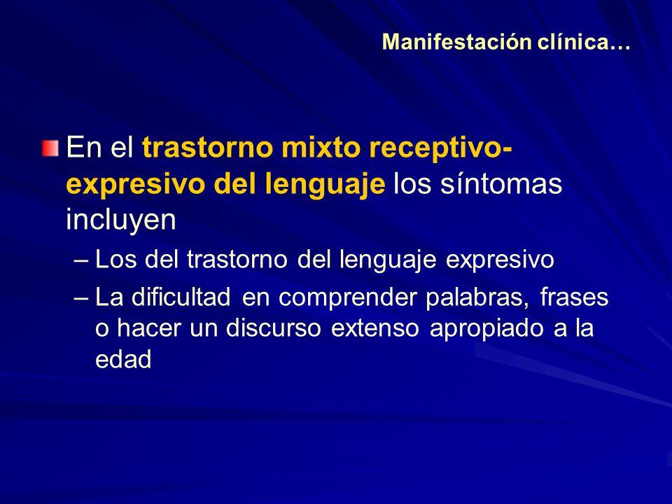 En el trastorno mixto receptivo- expresivo del lenguaje los síntomas incluyen –Los del trastorno del lenguaje expresivo –La dificultad en comprender p