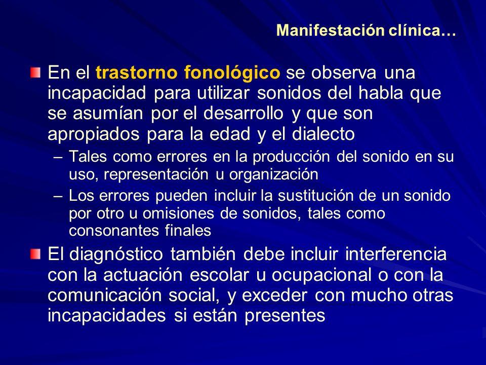 En el trastorno fonológico se observa una incapacidad para utilizar sonidos del habla que se asumían por el desarrollo y que son apropiados para la ed