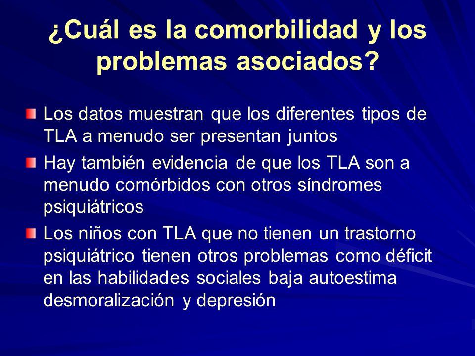 ¿Cuál es la comorbilidad y los problemas asociados? Los datos muestran que los diferentes tipos de TLA a menudo ser presentan juntos Hay también evide