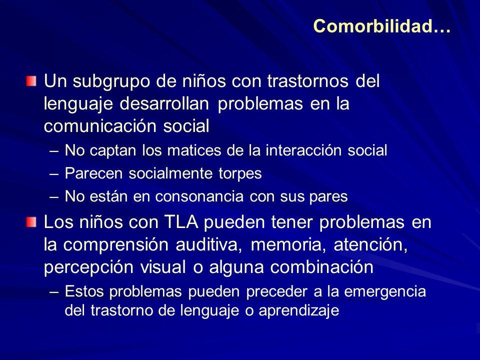 Comorbilidad… Un subgrupo de niños con trastornos del lenguaje desarrollan problemas en la comunicación social –No captan los matices de la interacció