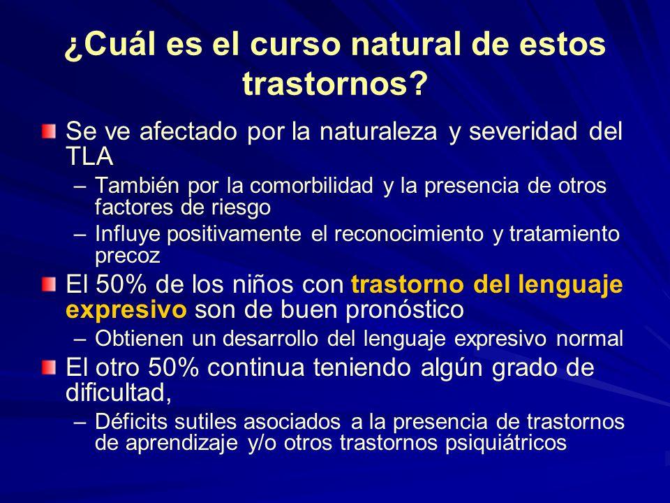¿Cuál es el curso natural de estos trastornos? Se ve afectado por la naturaleza y severidad del TLA –También por la comorbilidad y la presencia de otr