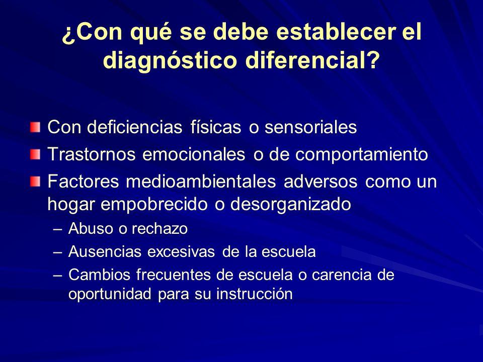 ¿Con qué se debe establecer el diagnóstico diferencial? Con deficiencias físicas o sensoriales Trastornos emocionales o de comportamiento Factores med