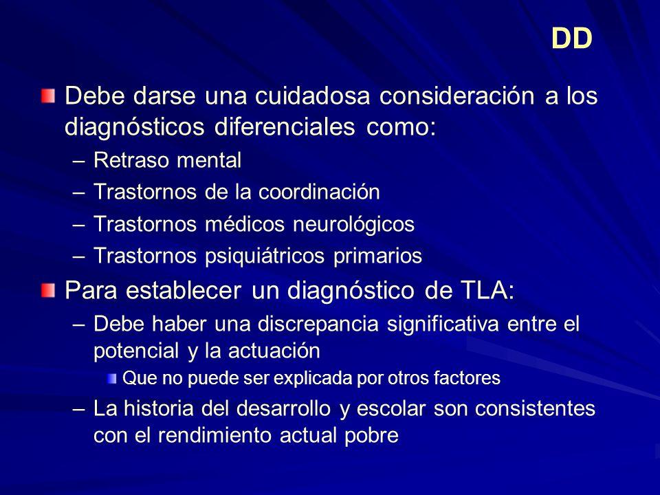 DD Debe darse una cuidadosa consideración a los diagnósticos diferenciales como: –Retraso mental –Trastornos de la coordinación –Trastornos médicos ne