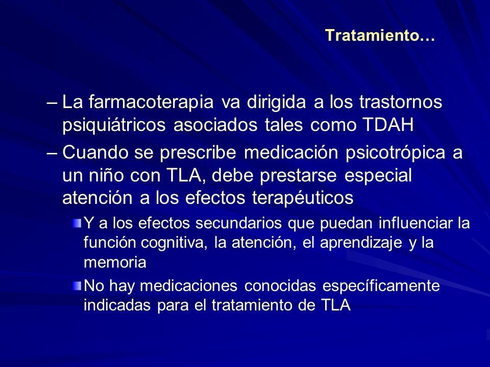 Tratamiento… –La farmacoterapia va dirigida a los trastornos psiquiátricos asociados tales como TDAH –Cuando se prescribe medicación psicotrópica a un