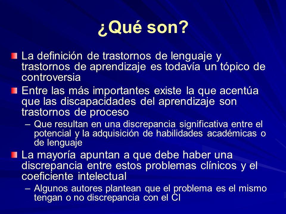 ¿Qué son? La definición de trastornos de lenguaje y trastornos de aprendizaje es todavía un tópico de controversia Entre las más importantes existe la
